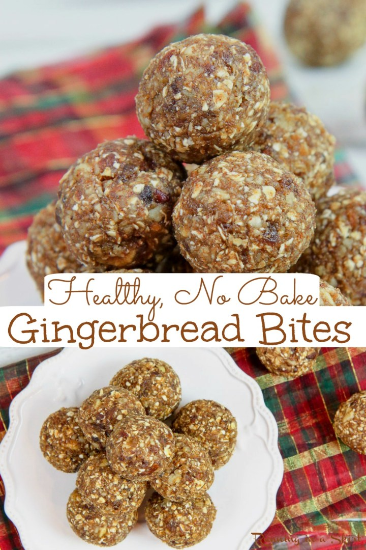 Healthy No Bake Gingerbread Bites recipe - An easy idea for Vegan Christmas treats that easy to make and tastes like cookies! This idea for Clean Eating desserts is filled with dates, oats, and gingerbread spices like cinnamon, nutmeg and cloves. The best healthy gingerbread recipe! Added sugar free and vegetarian! / Running in a Skirt #cleaneating #cleaneatingchristmas #vegan #veganchristmas #healthyliving #nobakedessert via @juliewunder