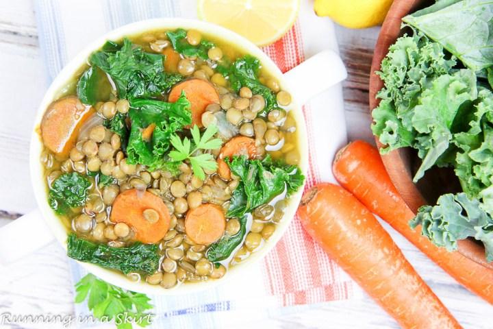 Vegetarian Crock Pot Lentil Soup / Running in a Skirt