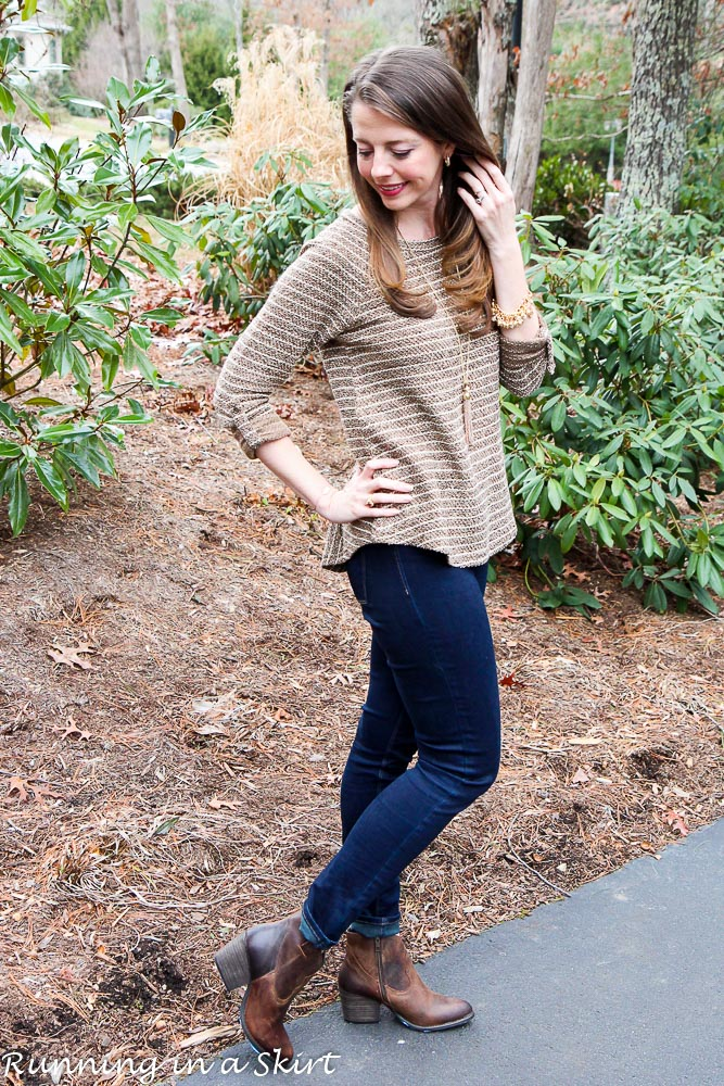 Brown & Gold Sweater with Ankle Boots / Running in a Skirt