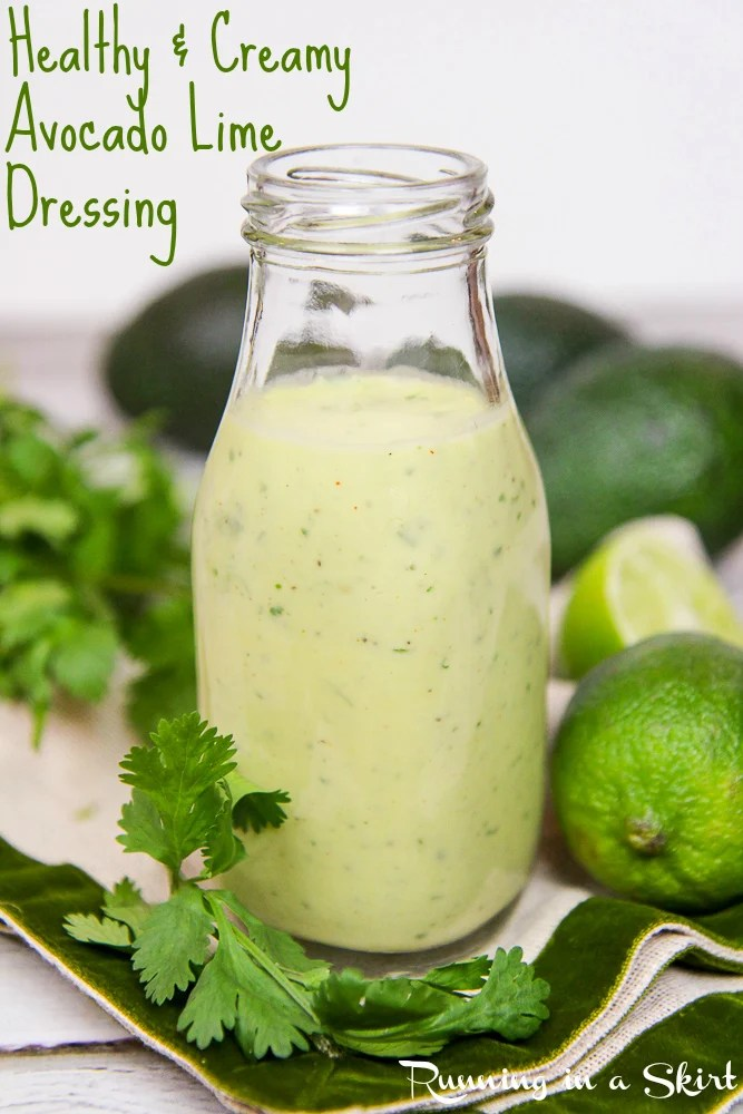 6 Ingredient Healthy Creamy Avocado Lime Dressing recipe / Running in a Skirt
