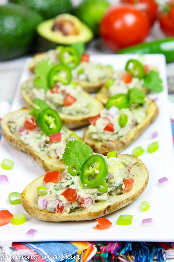 Healthy Potato Skins, Greek Yogurt Guacamole Potato Skins recipe / Running in a Skirt