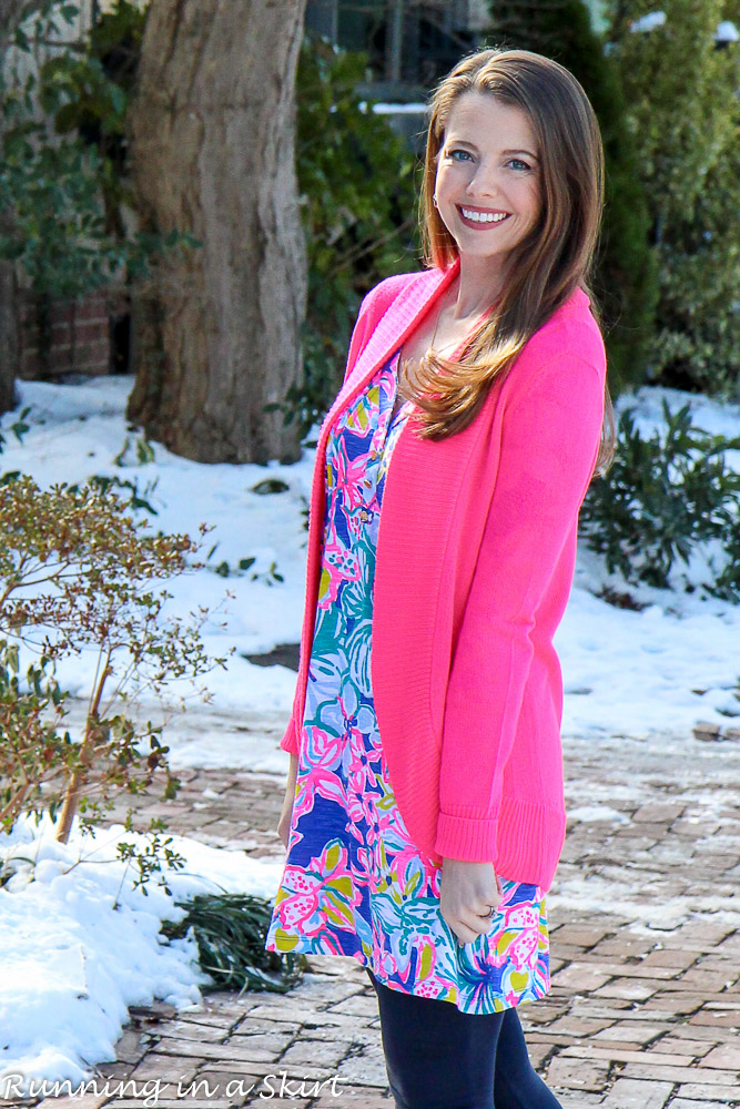 Styling Lilly Pulitzer for winter / Running in a Skirt