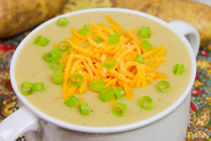A bowl of crock pot vegetarian potato soup.