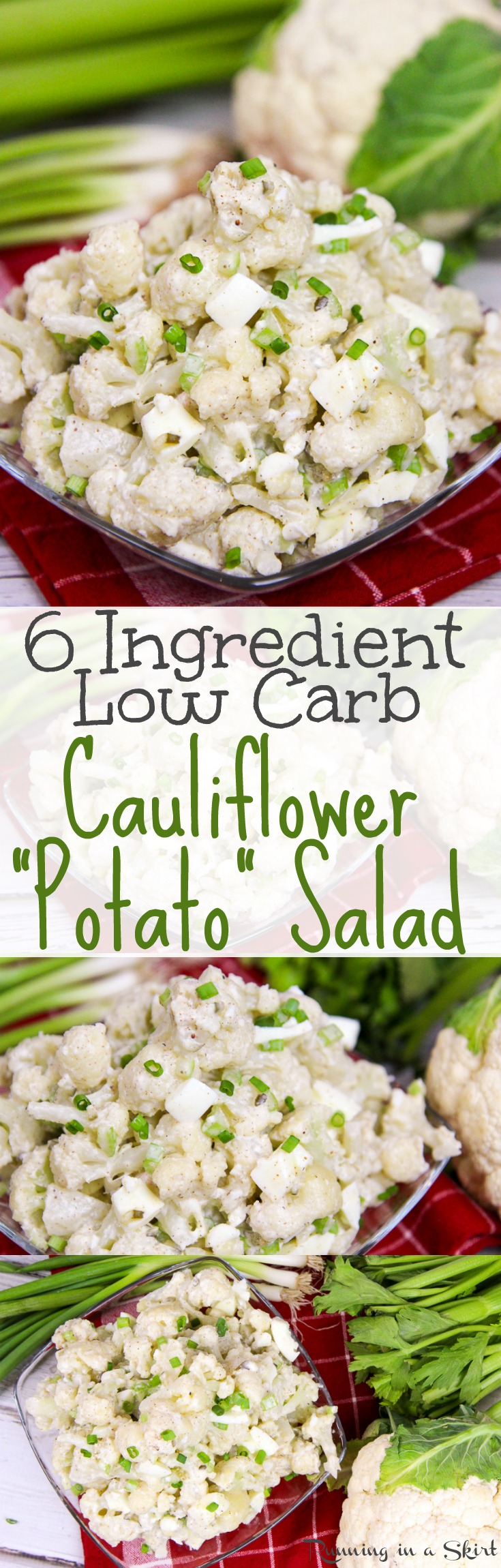 6 Ingredient Healthy Low Carb Cauliflower Potato Salad recipe! Also low calorie.. The best tasty, easy mock potato salad using greek yogurt (no mayo!)  A simple and nutritious twist on the classic comfort foods. / Running in a Skirt via @juliewunder