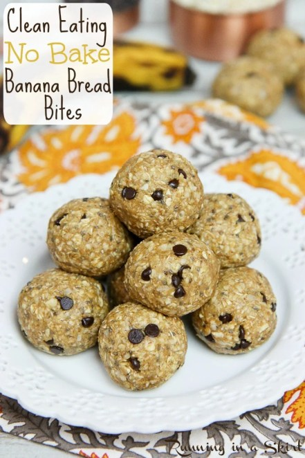 Healthy Clean Eating No Bake Banana Bread Bites recipe / Running in a Skirt