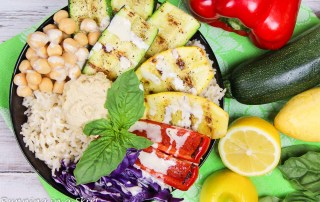 Grilled Vegetable Buddha Bowl recipe with homemade Lemon Tahini Dressing / Running in a Skirt