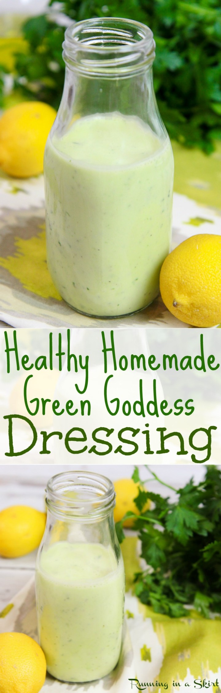 Healthy Homemade Green Goddess Dressing recipe. An easy, classic and creamy salad dressing with greek yogurt and fresh herbs. A clean eating, low carb and light version! / Running in a Skirt via @juliewunder