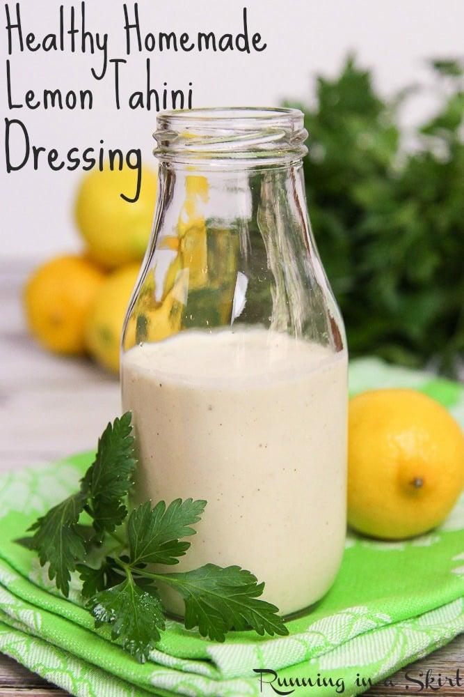 Healthy Homemade Lemon Tahini Dressing recipe / Running in a Skirt