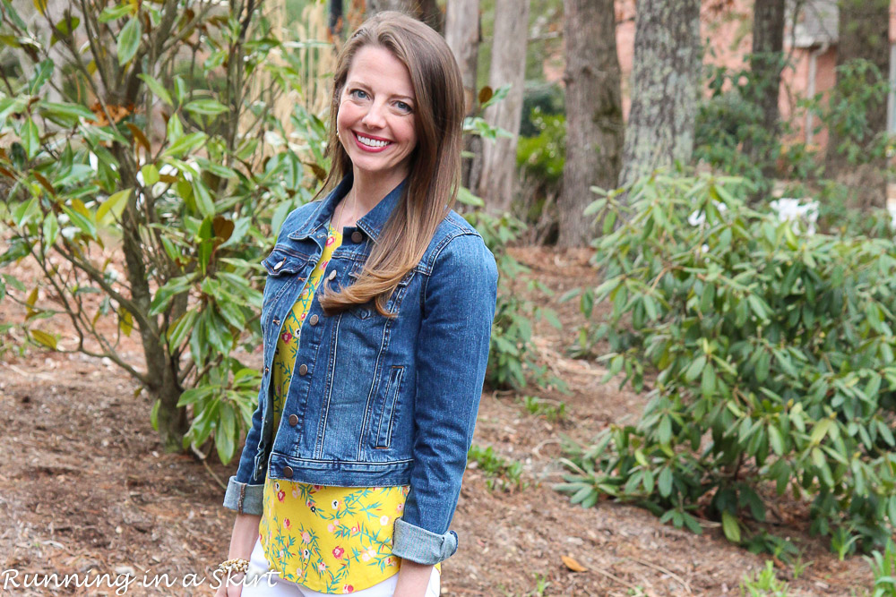 White Jeans Look -- Yellow Floral shirt, denim jacket and white jeans. / Running in a Skirt