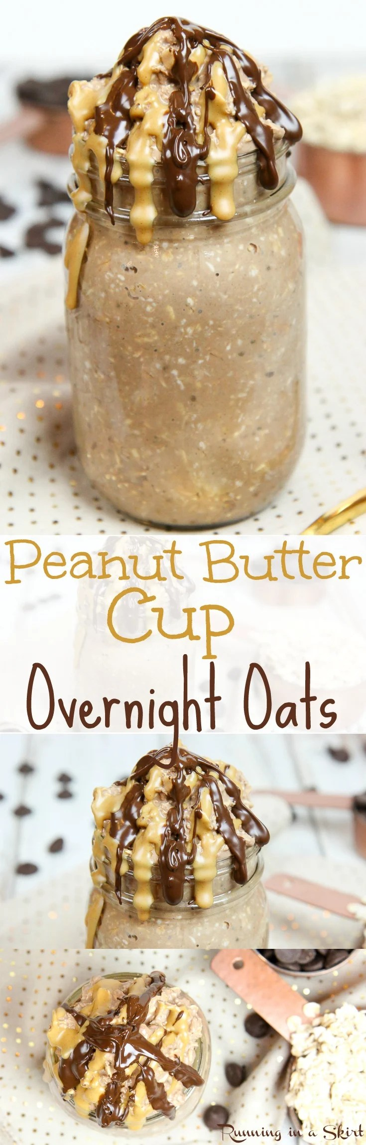 Healthy Peanut Butter Cup Overnight Oats recipe / Running in a Skirt