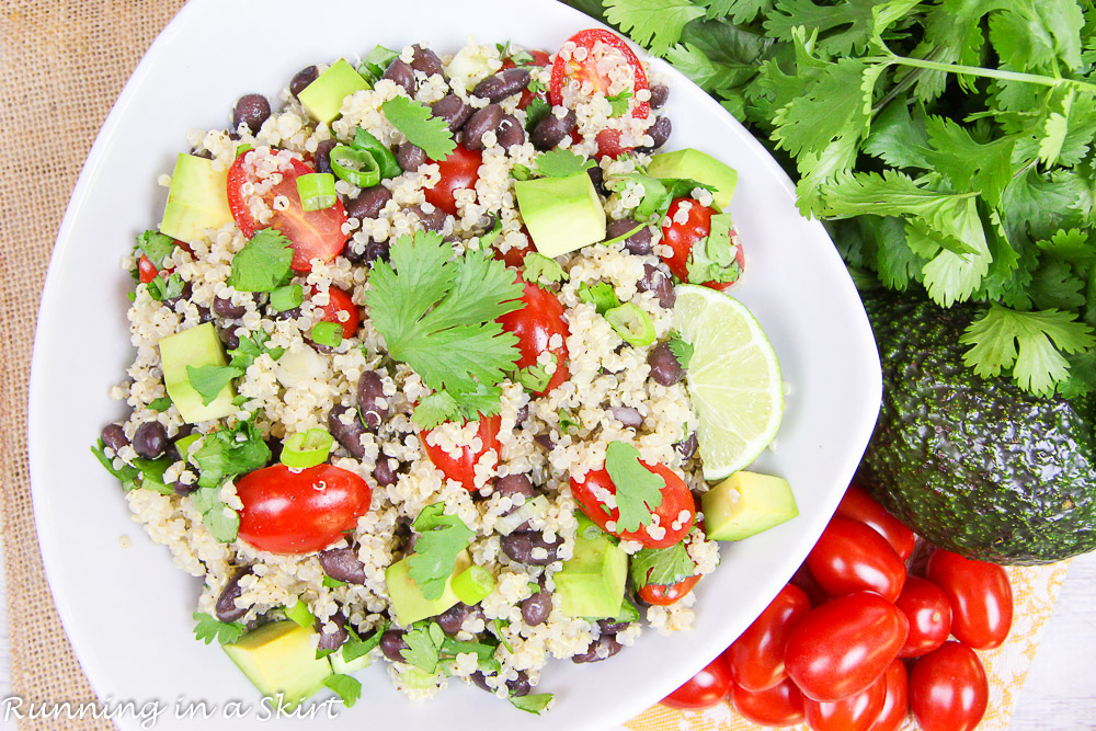 3 Easy Quinoa Salad Recipes- all less than 6 ingredients! Heirloom Tomato Caprese Quinoa Salad, Honey Lime Mango Berry Quinoa Salad and Mexican Black Bean Quinoa Salad / Running in a Skirt