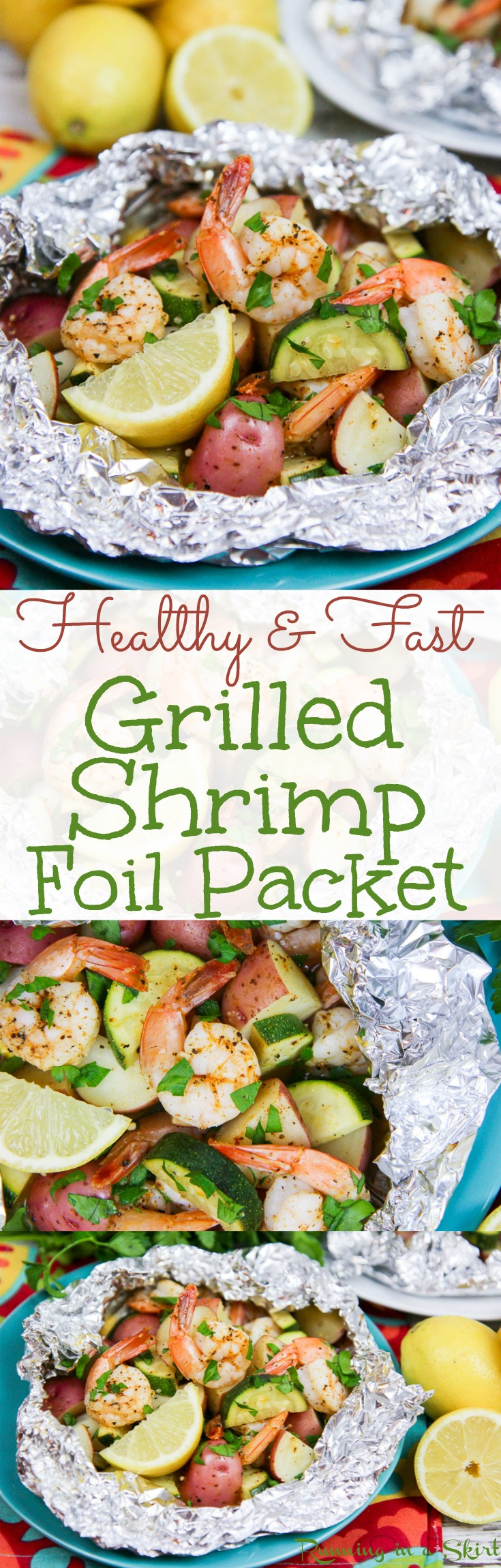 Healthy Low Country Boil Style Foil Packet Shrimp. No butter only olive oils, Old Bay & lemon! Pescatarian version uses zucchini instead of sausage - a complete meal or dinner with vegetables. Even fun for camping recipes. Grill or oven bake! Gluten free / Running in a Skirt via @juliewunder