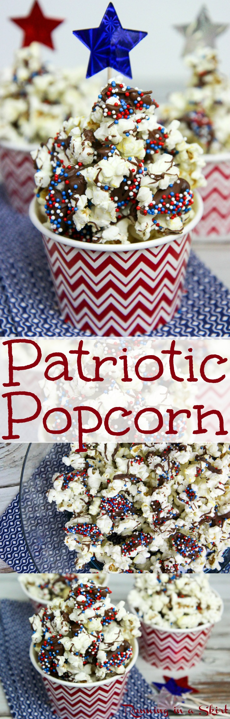 3 Ingredient Dark Chocolate Patriotic Popcorn recipe.  A fun red, white and blue food idea for 4th of July.  The perfect semi healthy holiday treat.  Easy DIY make ahead for kids or for a crowd.  Simple, inexpensive, creative and cute for movie night or an edible gift! / Running in a Skirt via @juliewunder