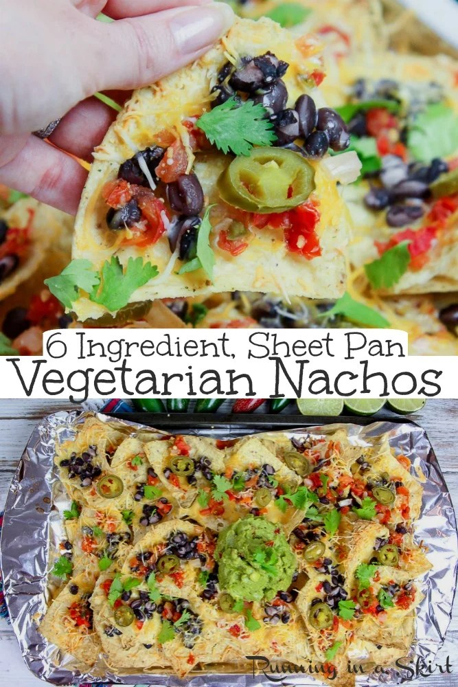 Sheet Pan Vegetarian Nachos - only 6 Ingredients. This easy vegetarian nachos recipe is THE BEST with healthy swaps, dip, beans, guacamole and pico de gallo. It's homemade / DIY, loaded, fresh and delicious. Topped with Mexican favorites. / Running in a Skirt #nachos #vegetarian #healthy #recipe #mexicanfood via @juliewunder