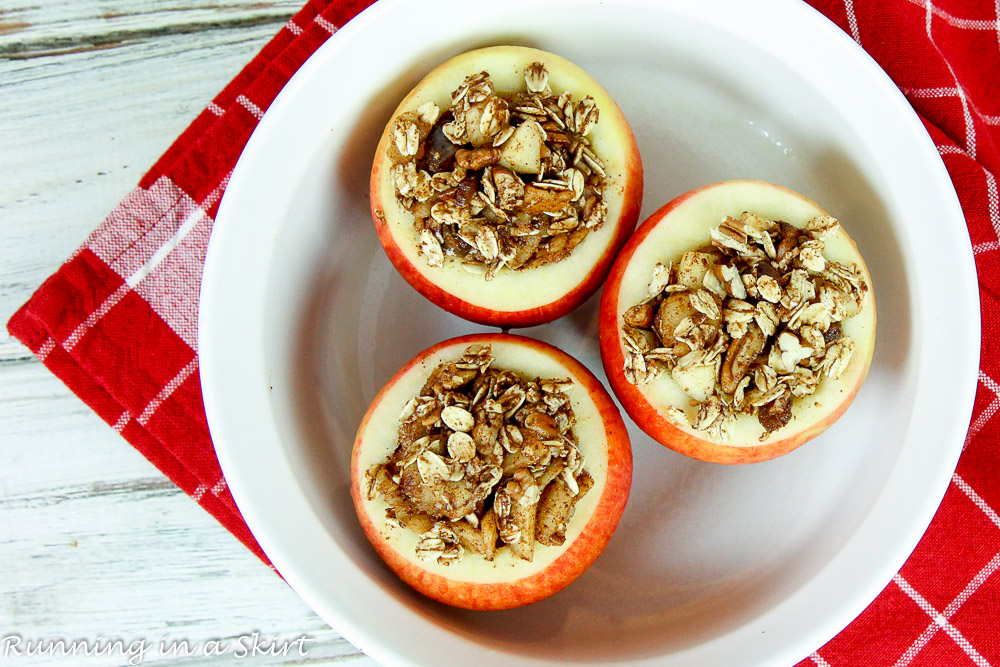 Maple, Pecan and Date Healthy Stuffed Baked Apples/ Running in a Skirt