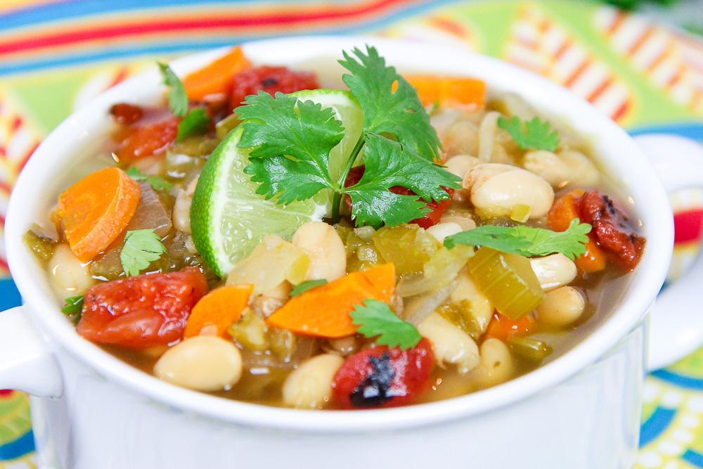 Crock Pot Southwest Vegetarian White Bean Soup recipe/ Running in a Skirt