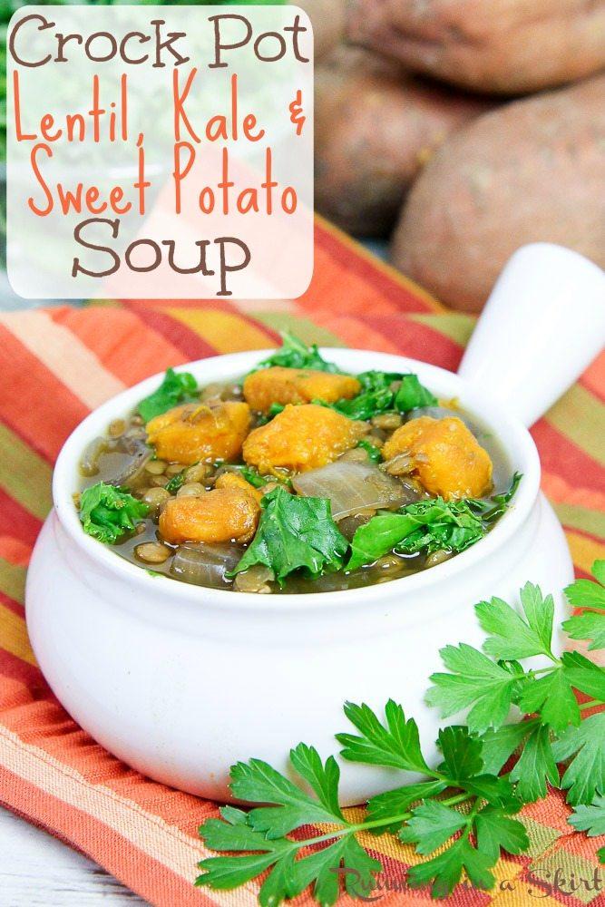 Crock Pot Lentil Sweet Potato Soup recipe / Running in a Skirt