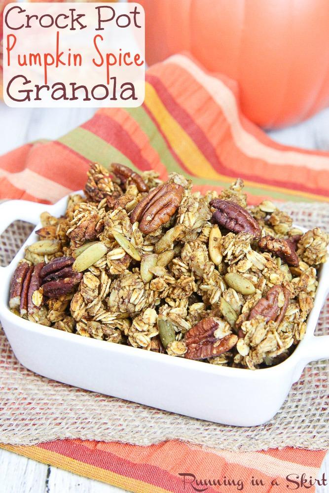 Healthy Crock Pot Pumpkin Granola recipe/ Running in a Skirt