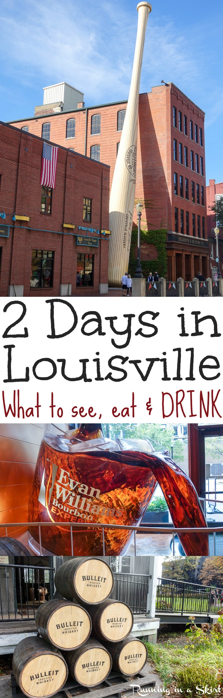 Things to Do in Louisville, Kentucky - 2 Days in Louisville?  Visit the Bourbon Trail distilleries in the area (Jim Beam, Evan Williams, Angel's Envy + more) and also find the best restaurants, attractions and nightlife in downtown... including 4th Street and the Louisville Slugger Museum! / Running in a Skirt via @juliewunder