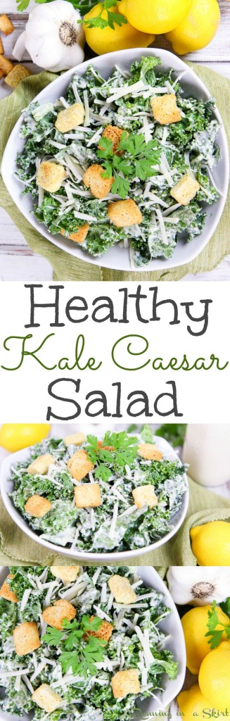 Greek Yogurt Healthy Kale Caesar Salad recipe / Running in a Skirt