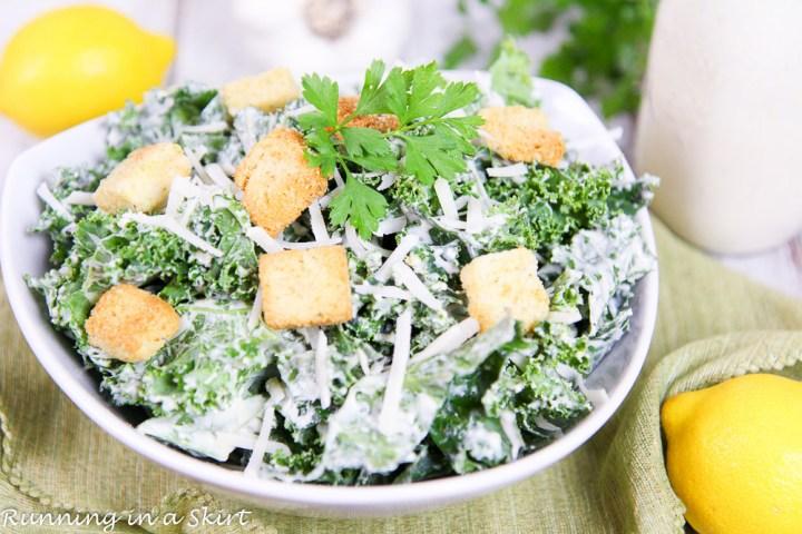 Greek Yogurt Healthy Kale Caesar Salad recipe / Running in a Skirt