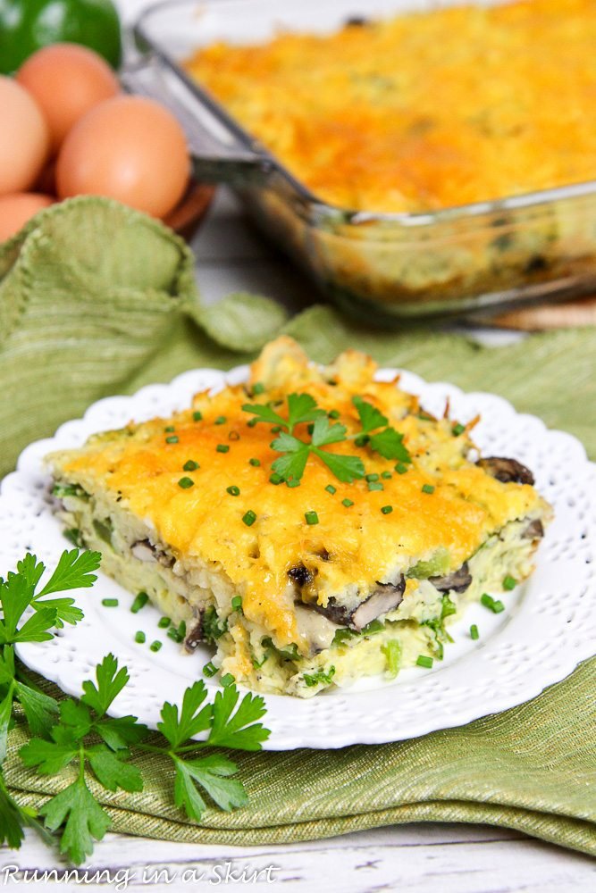 Healthy Vegetarian Breakfast Casserole recipe / Running in a Skirt