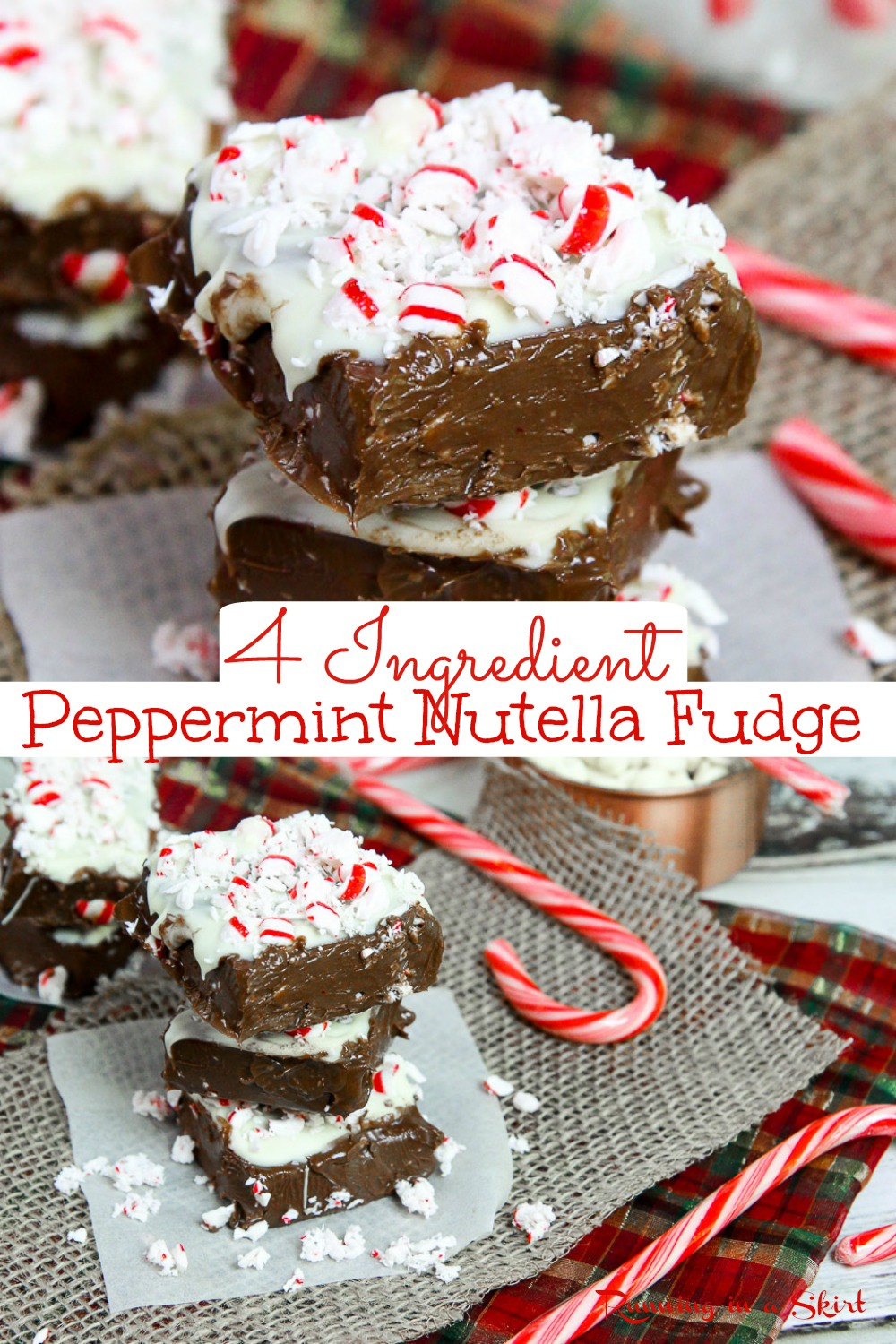Peppermint No Bake Nutella Fudge recipe - Only 4 Ingredients! An easy No Bake Peppermint Fudge with nutella, candy cane and a white chocolate layer topping. Includes how to make instructions for No Bake Fudge. Healthy swap - made with coconut oil and without condensed milk. The best holiday freezer fudge! Vegetarian, Gluten Free/ Runing in a Skirt #Christmas #fudge #peppermint #healthyliving #recipe via @juliewunder