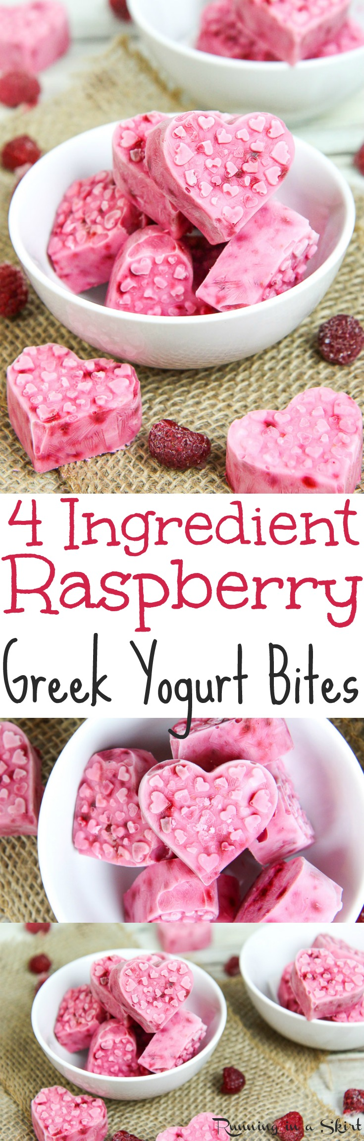 4 Ingredient Healthy, Frozen Raspberry Greek Yogurt Bites.  The perfect fruit filled, gluten free, vegetarian low carb snack ideas for Valentine's Day.  These easy, homemade and cute heart shaped DIY treats for kids or for adults only take 10 minutes to make.  / Running in a Skirt via @juliewunder