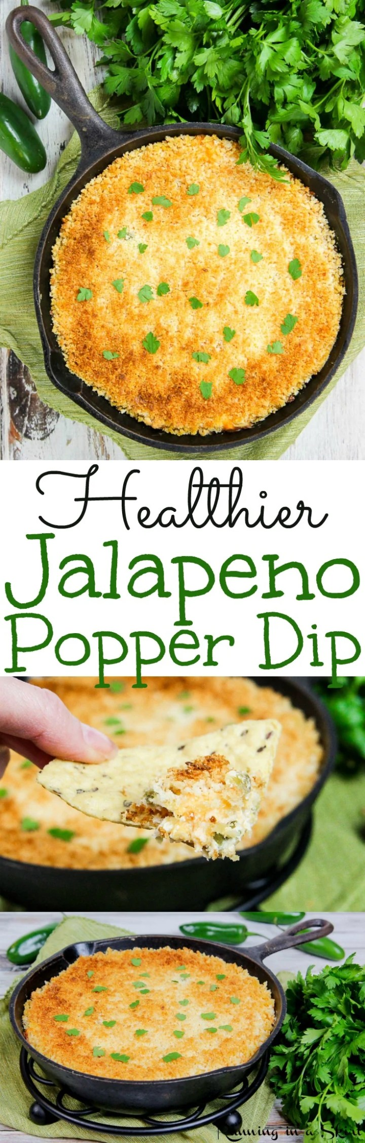 Easy Healthy Jalapeno Popper Dip recipe - with greek yogurt and with panko! The perfect appetizers for your Super Bowl party. Also uses cream cheeses and cheddar cheese - not too spicy. A great vegetarian Superbowl food! Gluten free too. / Running in a Skirt via @juliewunder