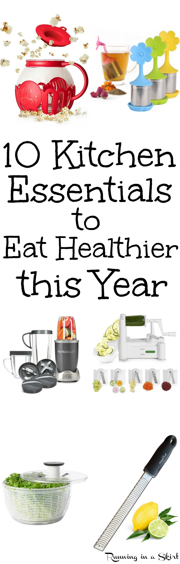 10 Healthy Kitchen Gadgets and Tools to Eat Healthier for Life.  These run ideas and products can make cooking easier and better for your health.  Great home tools for clean eating, cooking veggies, vegetable noodles for low carb diets and following recipe ideas. / Running in a Skirt via @juliewunder