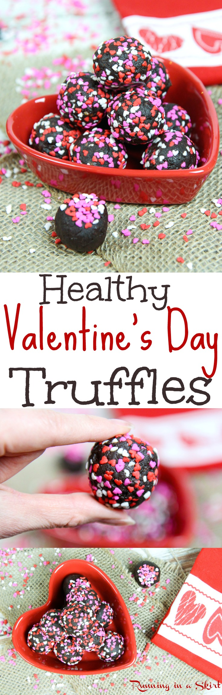 Clean Eating Healthy Chocolate & Date Truffles recipe for Valentine's Day.  Only 4 Ingredients.  The perfect easy, raw vegan energy bites dessert recipes!  This dairy free treat is delicious and features almond butter or your favorite nut butter.  / Running in a Skirt via @juliewunder