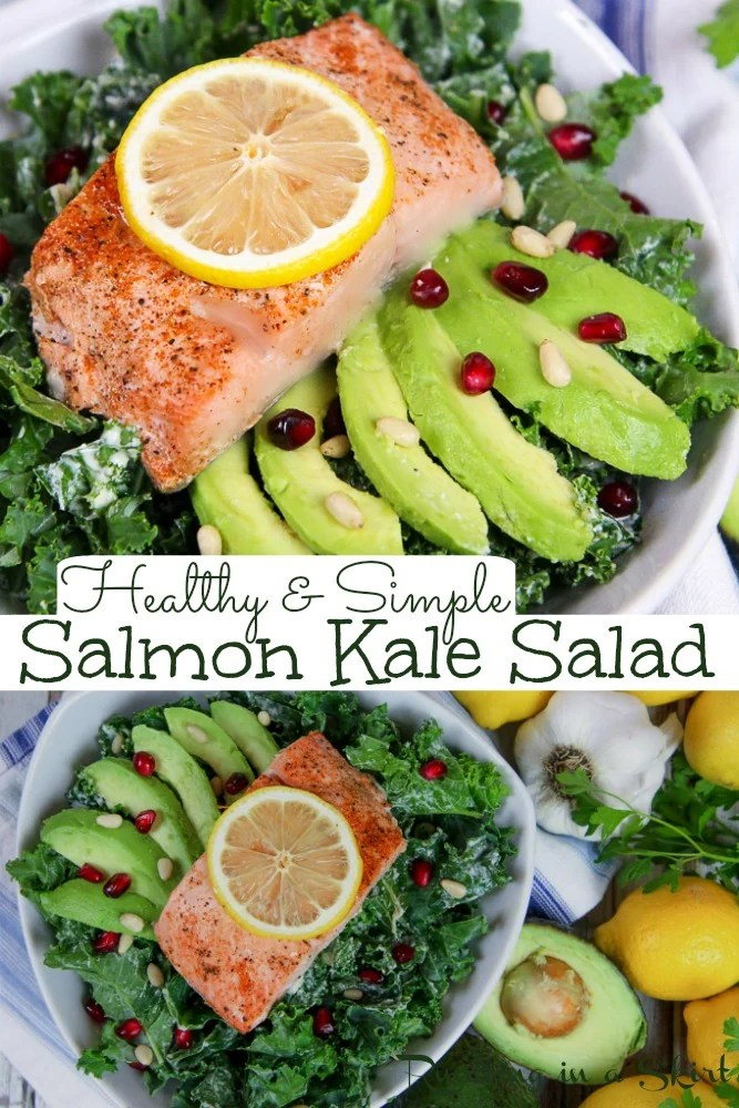 Salmon Kale Salad Recipe with Lemon Tahini Dressing. Oven baked salmon for a healthy and simple salad. Has perfectly massaged kale and superfoods like avocado and pomegranate. The BEST Kale Salad for dinner! Pescatarian, Whole 30, Clean Eating, Paleo, Dairy Free/ Running in a Skirt #pescatarian #healthy #salad #kale via @juliewunder