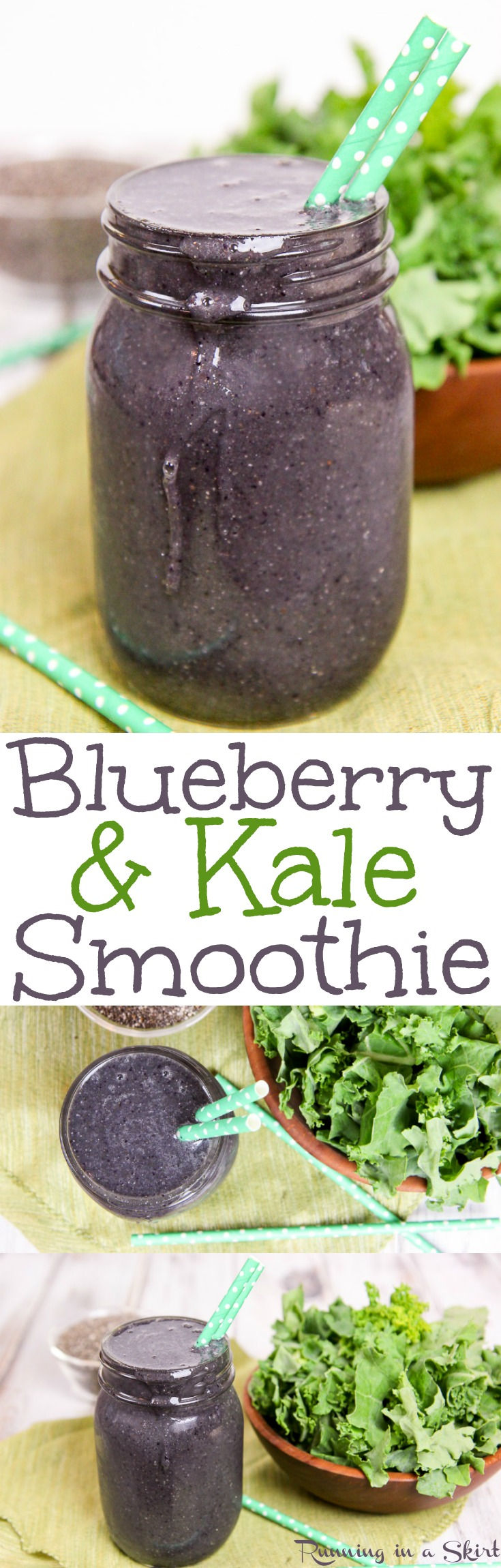 Kale and Blueberry Smoothie recipe.  A sweet green smoothie with chia seeds and greens.  Includes a frozen banana to make it creamy.  Perfect for breakfast or a snack.  Healthy, fast, vegan, gluten free and clean eating! / Running in a Skirt via @juliewunder