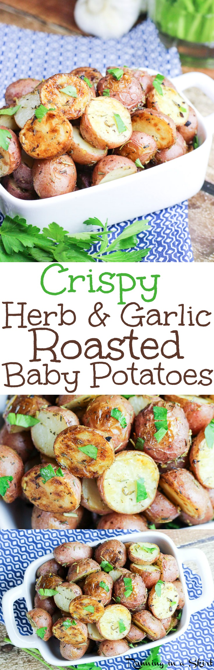 Crispy Oven Roasted Potatoes recipe - an easy and healthy recipe for baby red potatoes tossed in olive oil, garlic and herbs (rosemary and thyme.)  Great for dinner or for a crowd!  Roasted at 450!  Vegan, Vegetarian / Running in a Skirt via @juliewunder