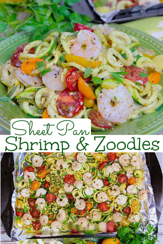 Sheet Pan Shrimp and Zoodles recipe – A healthy shrimp zoodles dinner recipe that's low carb, gluten free, whole 30 and keto. This Sheet Pan Shrimp recipe is ready in 20 minutes and is topped with fresh lemon, garlic, spices, and veggies like tomato. Uses zucchini noodles instead of pasta for an easy pescatarian weekday dinner for two. Also clean eating & dairy free! This meal is simple and fresh. / Running in a Skirt #pescatarian #pescatariandinner #shrimpdinner #whole30 #lowcarb #glutenfree via @juliewunder
