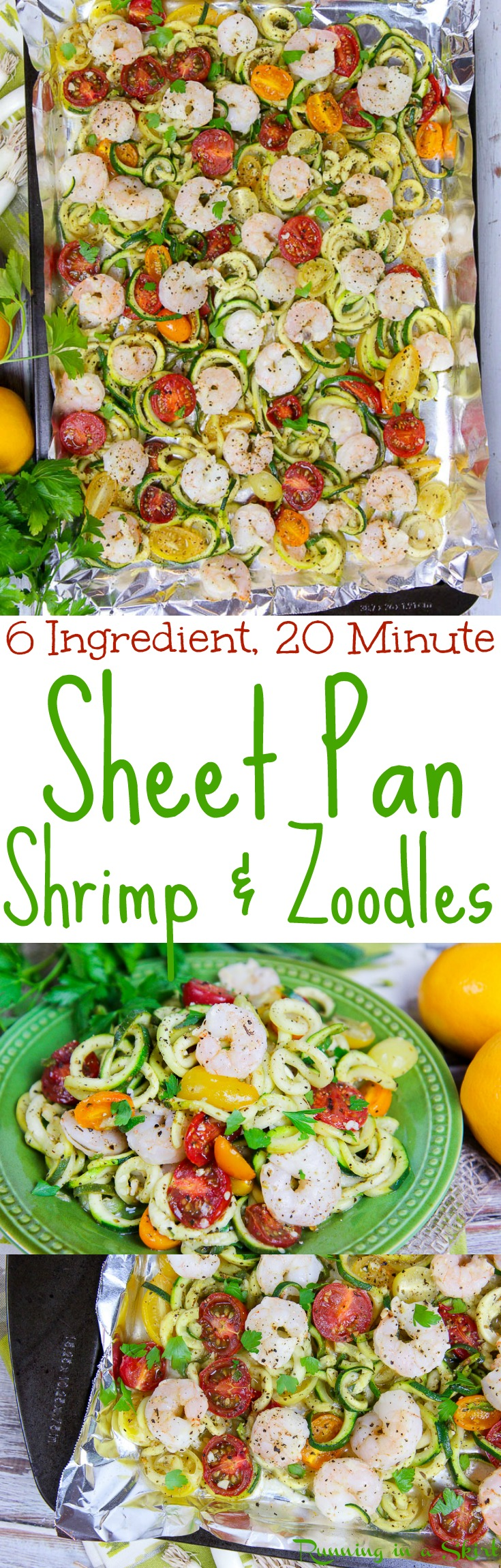 Healthy Sheet Pan Shrimp and Zoodles recipe - Takes only 20 minutes! Low Carb, Whole 30, paleo, 21 Day Fix, Gluten Free and Clean Eating. The easiest recipes for weeknight dinners and meals - better than a one pot meal. Uses zucchini instead of pasta./ Running in a Skirt via @juliewunder