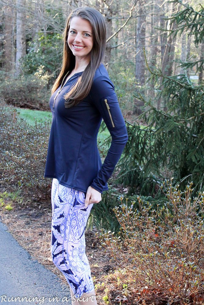 Lilly Pulitzer Luxletic Coco Safari Print Leggings with Navy Rash Guard / Running in a Skirt via @juliewunder