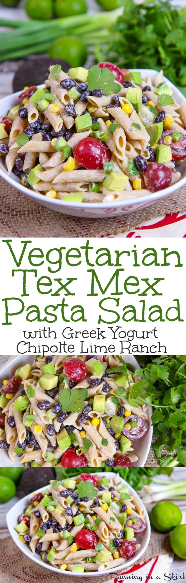 Healthy Tex Mex Pasta Salad recipe with Chipotle Lime Greek Yogurt Ranch Dressing. This easy, cold Mexican Pasta Salad is packed with black beans, veggies, tomato, corn and avocado! A simple vegetarian meal for weekday dinners, for a crowd, picnics or for families. / Running In a Skirt via @juliewunder
