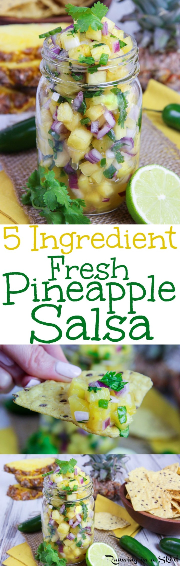 5 Ingredient Fresh Pineapple Salsa recipe - Perfect with tortilla chips or for fish tacos. This easy and simple Mexican dip is sweet, homemade and delicious. Great for any fish like salmon, tilapia, mahi mahi or tuna. No tomatoes! Vegan, Vegetarian & Gluten Free/ Running in a Skirt via @juliewunder
