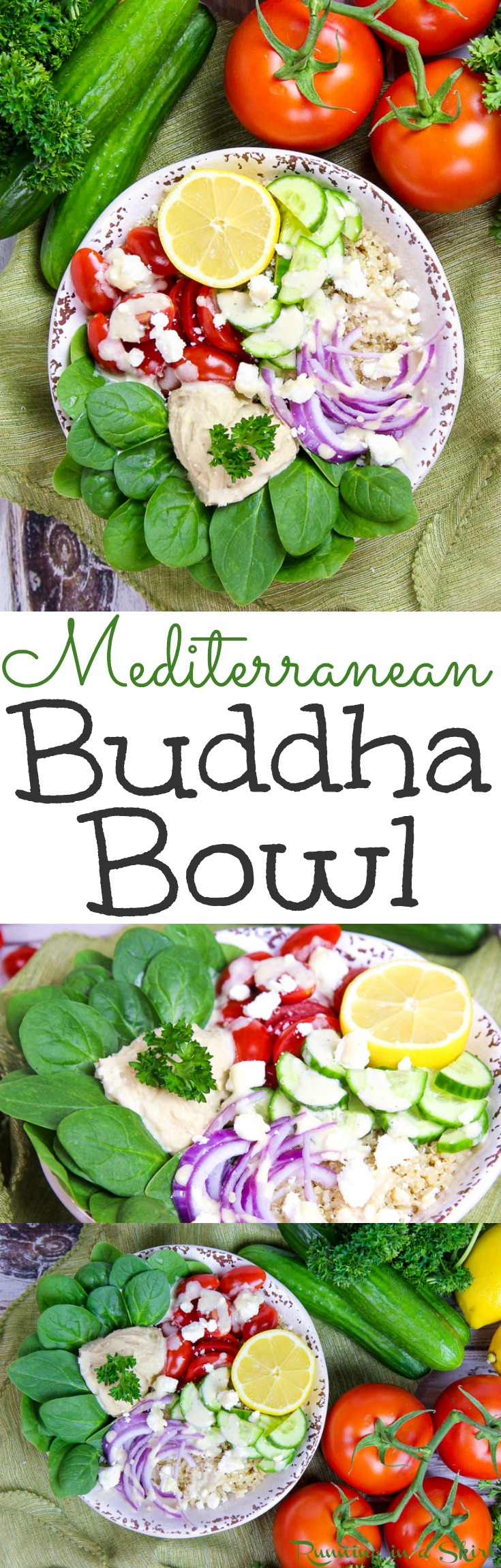 Healthy Mediterranean Buddha Bowl recipe with Lemon Tahini Dressing. Looking for easy plant based healthy recipes for dinner or lunch? Try this power bowl with simple ingredients like quinoa, spinach, hummus and the perfect sauce. Vegetarian, vegan option, gluten free and low carb! / Running in a Skirt via @juliewunder