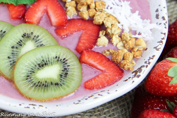 Close up of Kiwi Strawberry Smoothie Bowl Recipe in a bowl.