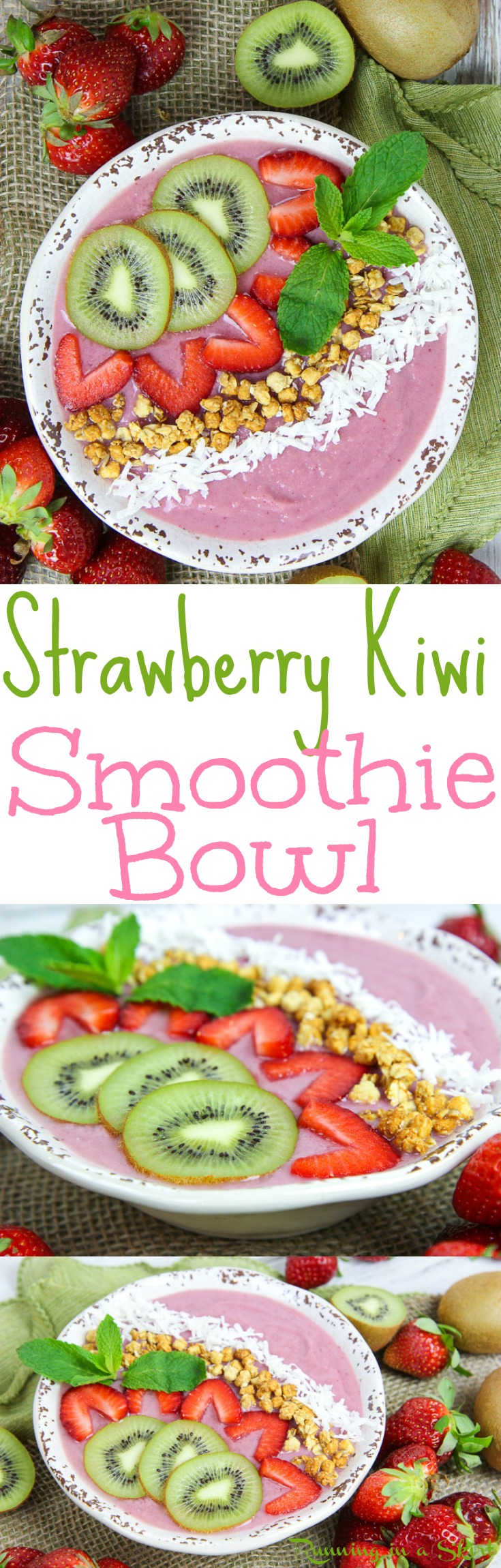 Healthy Kiwi Strawberry Smoothie Bowl recipe - a high protein vegan breakfast and the perfect simple and fun way to start your mornings or for snacks.  Has fresh fruit and frozen bananas.... great for spring or summer. Gluten free, raw vegan & vegetarian. / Running in a Skirt