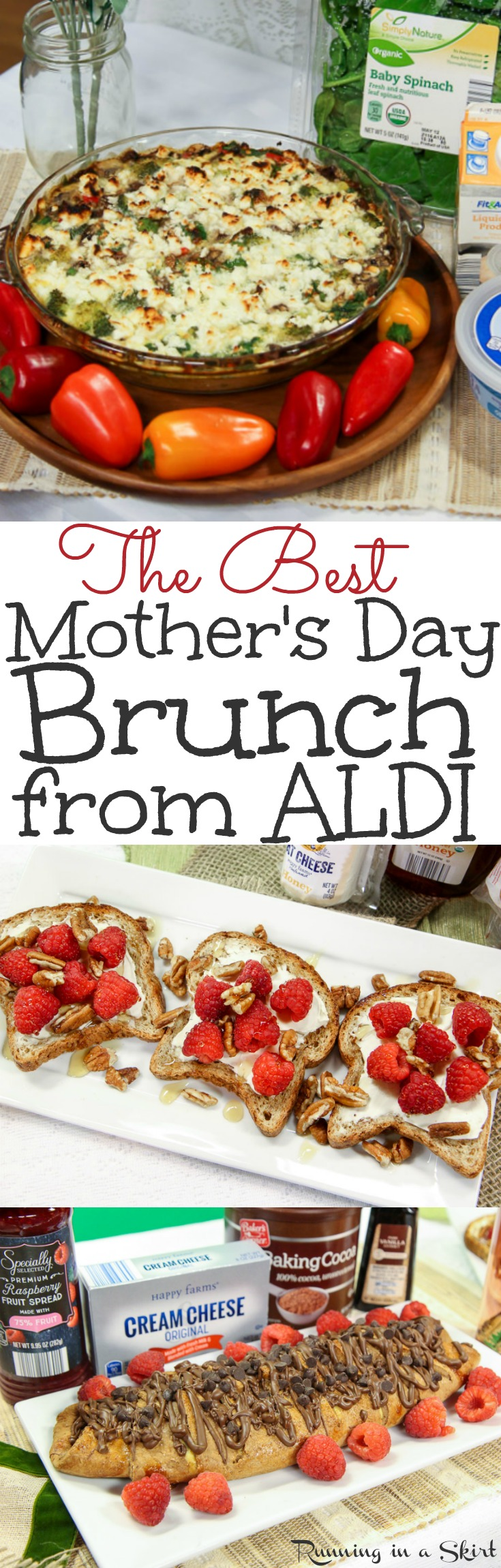 The Best Mother's Day Brunch recipes and ideas.  Includes awesome decorations for cute buffet food and an easy, healthy menu from ALDI.  Also has drinks like a mimosa bar plus simple savory make ahead eggs casseroles, toast and dessert.  Vegetarian option included. / Running in a Skirt  via @juliewunder