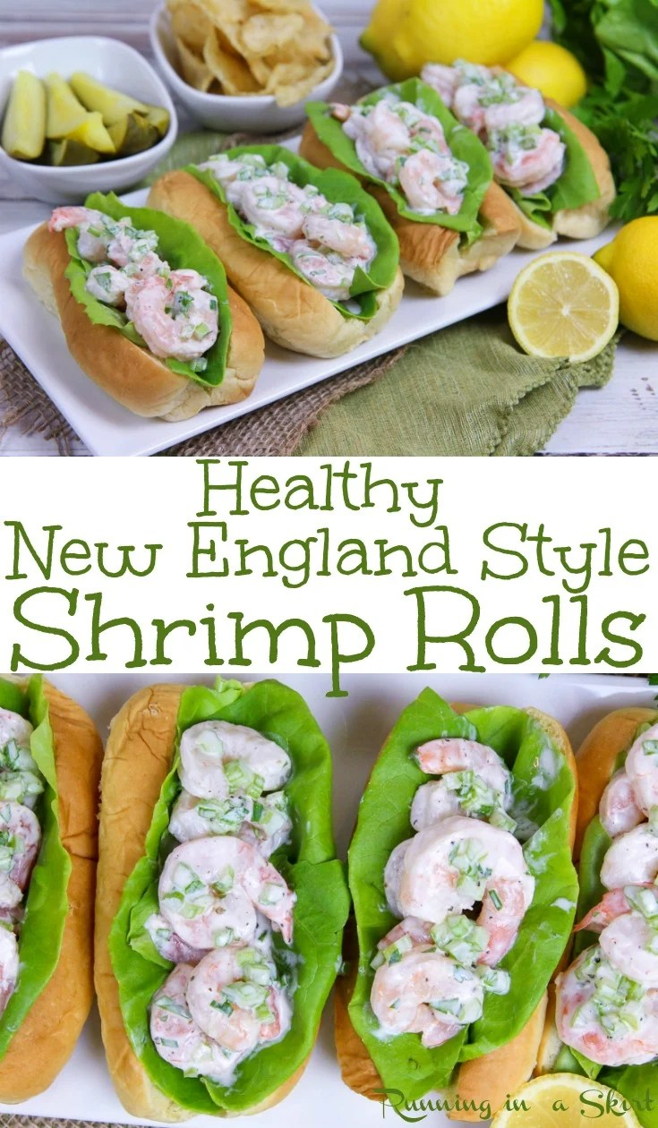 Healthy New England Style Shrimp Rolls recipe - EASY... takes 10 minutes to make!  This sandwich is a less expensive twist on a Lobster Roll with greek yogurt and no mayo!  Also has Old Bay and Lemon.  The best for weekday dinners or meals. / Running in a Skirt