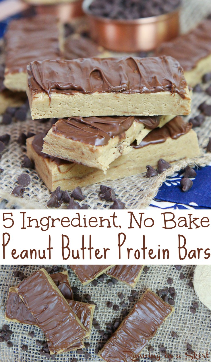 Healthy & Homemade No Bake Peanut Butter Protein Bars recipe - Only 5 Ingredients! These easy, low carb, clean eating and simple bars are made with oatmeal, peanut butter, honey, and @PremierProtein Vanilla Protein Powder and topped with chocolate.  No refined sugar.  Great for breakfast or a fit snack. Vegetarian and gluten free. / Running in a Skirt AD #healthy #protein #baking #nobake #vegetarian #glutenfree #peanutbutter #sweets #fitness