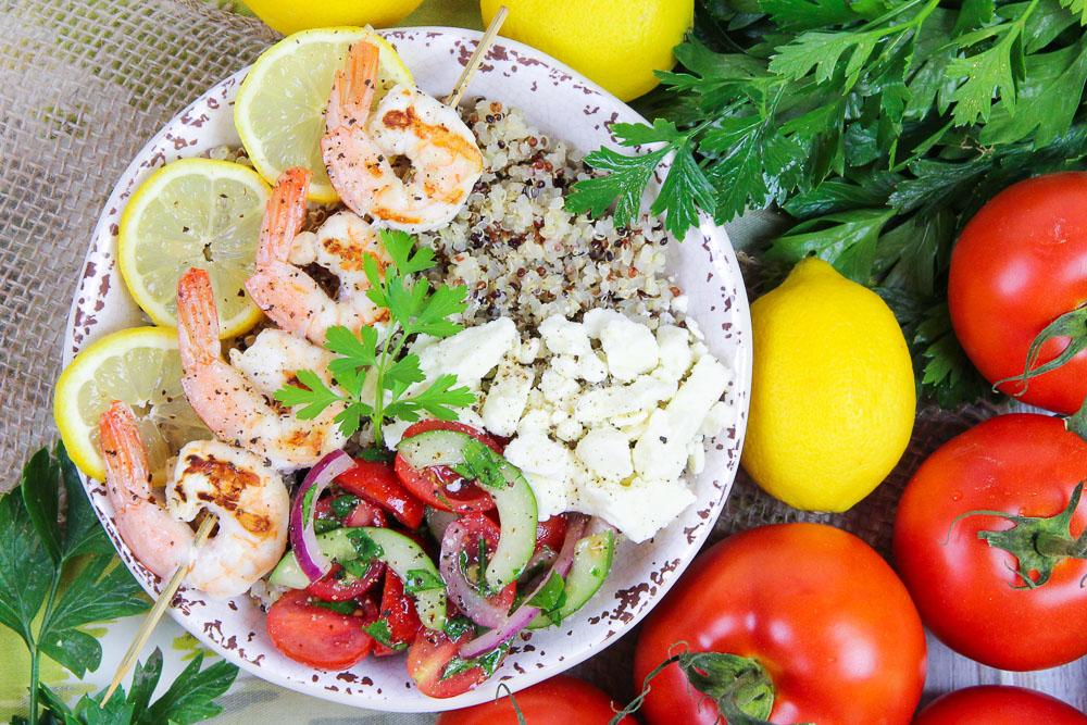 Mediterranean Grilled Shrimp Skewers Bowl recipe