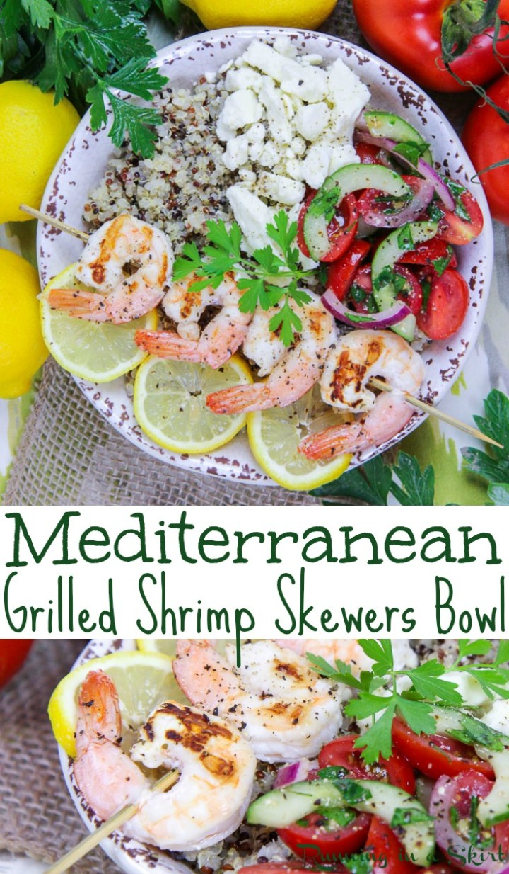 Easy & Healthy Mediterranean Grilled Shrimp Skewers Bowl - This shrimp bowl recipe is clean eating and packed with fresh vegetables, lemon, quinoa and feta. Includes the best marinade for shrimp. A perfect dinners for families or busy lunch. Pescatarian & Gluten Free / Running in a Skirt AD @briannassalad #shrimp #healthy #dinner #recipe #seafood #grilling #Mediterranean via @juliewunder