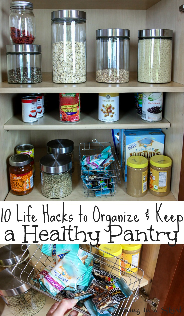 10 Healthy Pantry Organization Life Hacks - how to organize and KEEP your pantry. Includes ideas and a list for essentials and staples to always keep for cooking dinners and for families.  These simple tips will help you with eating clean and keeping your health.  Fabulous pantry makeover!  / Running in a Skirt AD