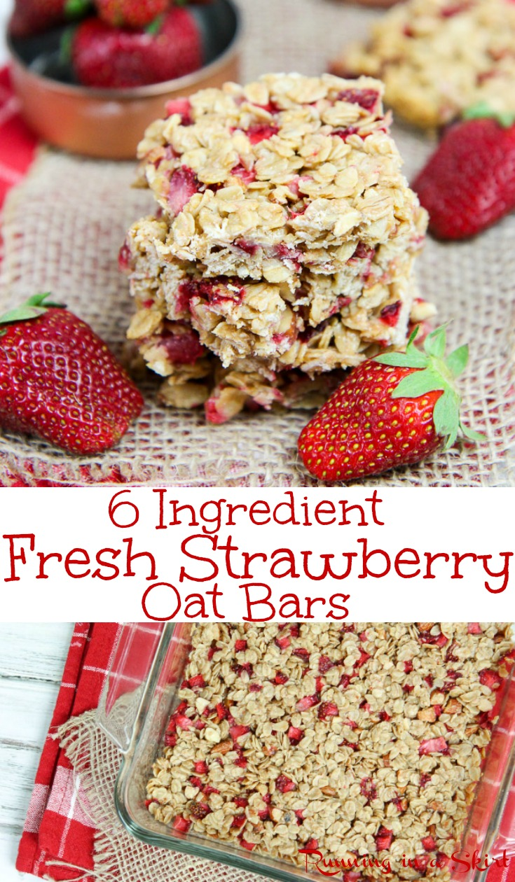 Healthy Fresh Almond Strawberry Bars recipe - Easy Only 6 Ingredients!  Clean eating with oatmeal, coconut oil, honey, almond butter and almonds.  These homemade, simple bars are perfect for snacks, breakfast or a sweet treat.  No refined sugar or butter.  /Running in a Skirt #strawberry #baking #recipe #healthy #oatmeal #cleaneating