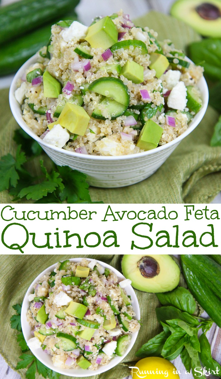 Cucumber Avocado and Feta Quinoa Salad recipe - a healthy, easy and simple vegetarian quinoa recipe!  Uses a Freek / Italian style dressing/ vinaigrette with lemon.  Clean eating, gluten-free and delicious! / Running in a Skirt